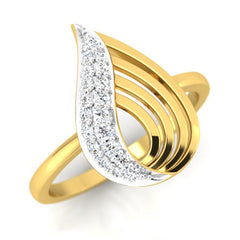 diamond studded gold jewellery - Yalena Casual Ring - Pristine Fire - 1
