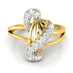 diamond studded gold jewellery - Yamelia Fashion Ring - Pristine Fire - 2