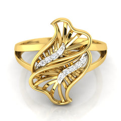 diamond studded gold jewellery - Yamila Fashion Ring - Pristine Fire - 2