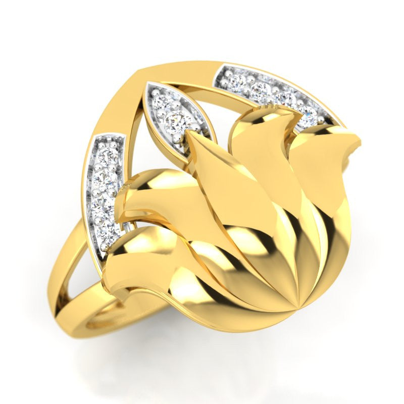 diamond studded gold jewellery - Yaminah Cocktail Ring - Pristine Fire - 1