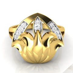 diamond studded gold jewellery - Yaminah Cocktail Ring - Pristine Fire - 2