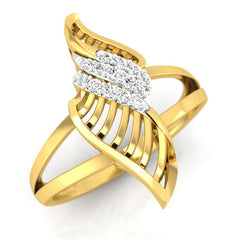 diamond studded gold jewellery - Yamuna Cocktail Ring - Pristine Fire - 1