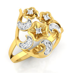 diamond studded gold jewellery - Yasemin Cocktail Ring - Pristine Fire - 1