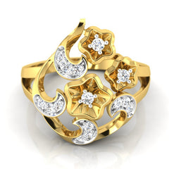 diamond studded gold jewellery - Yasemin Cocktail Ring - Pristine Fire - 2