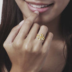 diamond studded gold jewellery - Yasemin Cocktail Ring - Pristine Fire - 5