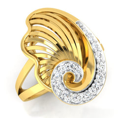 diamond studded gold jewellery - Yashira Cocktail Ring - Pristine Fire - 1