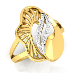 diamond studded gold jewellery - Yeira Cocktail Ring - Pristine Fire - 1
