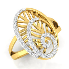 diamond studded gold jewellery - Yemena Cocktail Ring - Pristine Fire - 1