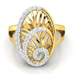 diamond studded gold jewellery - Yemena Cocktail Ring - Pristine Fire - 2