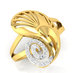diamond studded gold jewellery - Yevgenia Cocktail Ring - Pristine Fire - 1