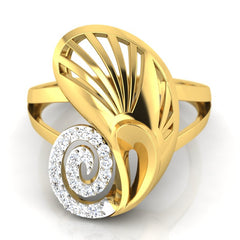 diamond studded gold jewellery - Yevgenia Cocktail Ring - Pristine Fire - 2
