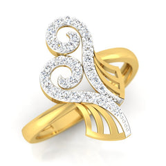 diamond studded gold jewellery - Yoanna Fashion Ring - Pristine Fire - 1
