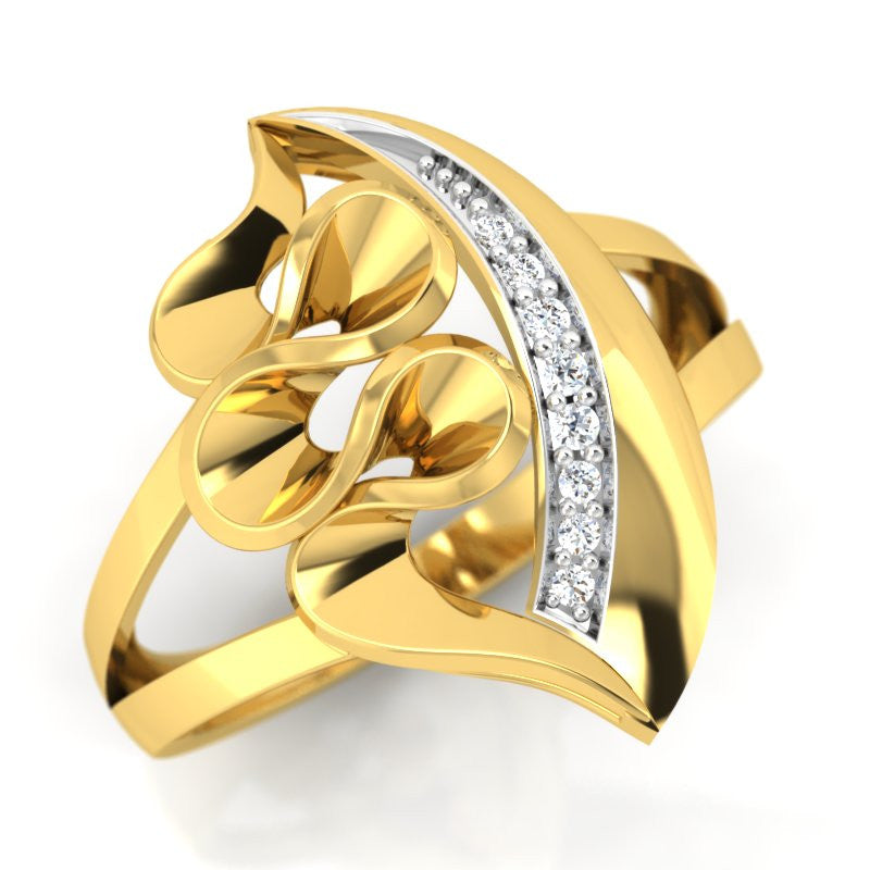 diamond studded gold jewellery - Yolie Cocktail Ring - Pristine Fire - 1