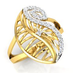 diamond studded gold jewellery - Yoselyn Cocktail Ring - Pristine Fire - 1
