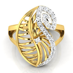 diamond studded gold jewellery - Yoselyn Cocktail Ring - Pristine Fire - 2