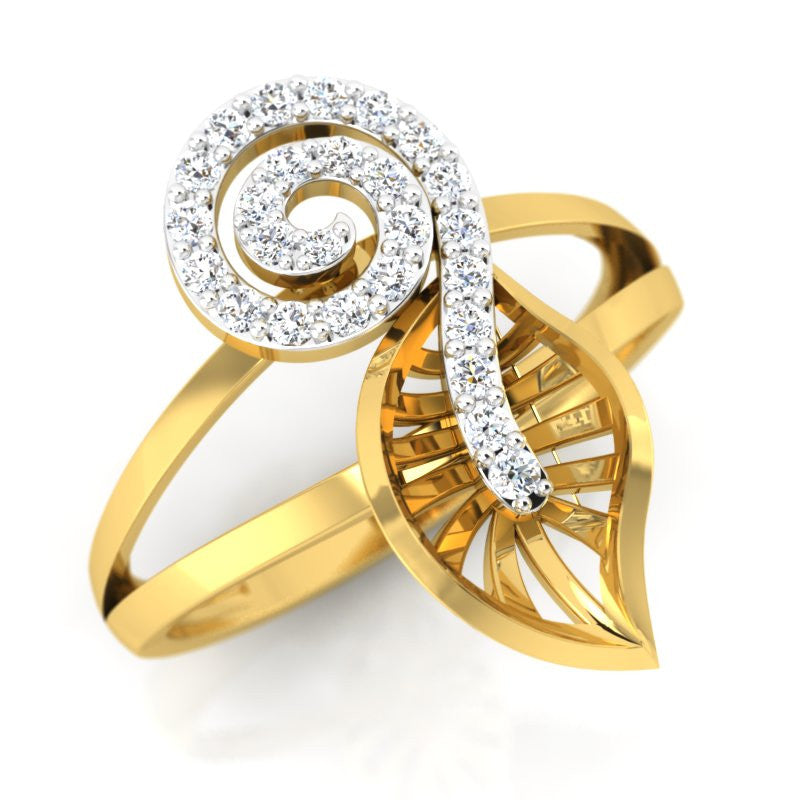 diamond studded gold jewellery - Yuki Fashion Ring - Pristine Fire - 1