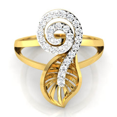 diamond studded gold jewellery - Yuki Fashion Ring - Pristine Fire - 2