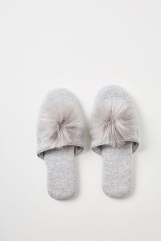 Marval Pom Pom Cashmere Slippers
