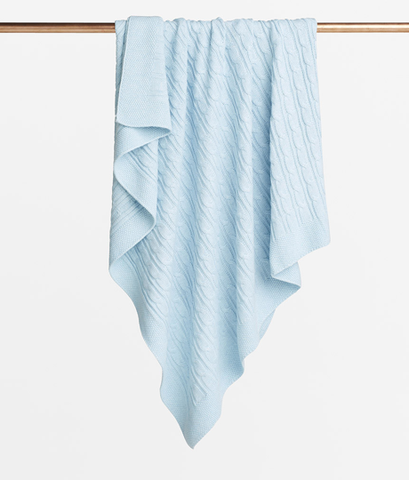 Wilson & Frenchy Ice Blue Cable Knit blanket