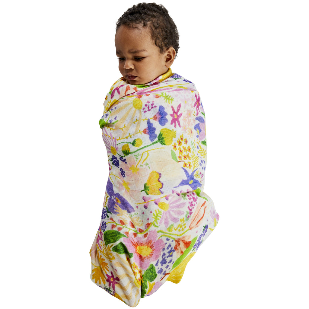Kip & Co Meadow White Bamboo Baby Swaddle