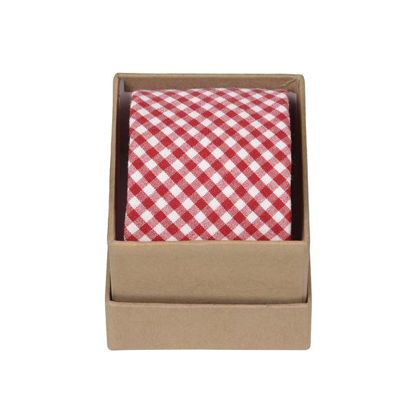 Ortc Man Cotton Linen Ties, Red Gingham, O/S
