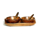 Horn Tray w 2 bowls/spoons