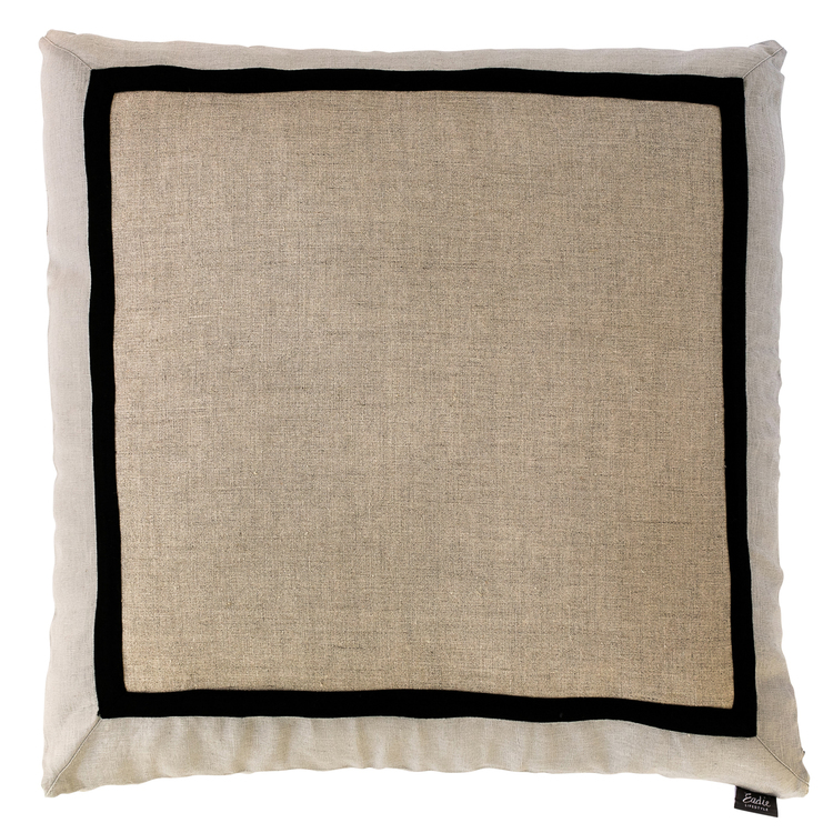 Tri Colour 60x60 Linen Natural, black and grey