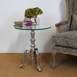 Side table Alu w/galss top
