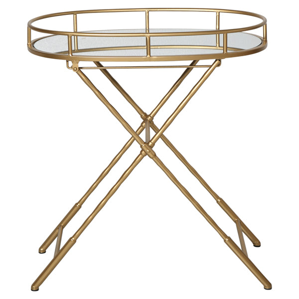 Gold/Glass Oval Folding Table