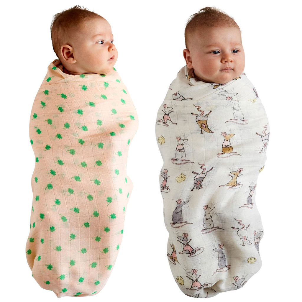 Kip & Co Mousing Around & Four Leaf Clover Bamboo Swaddle Set