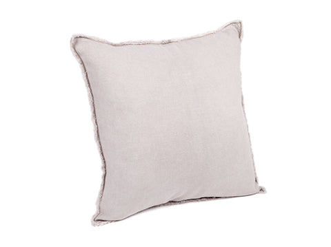 Eadie Panneau Cushion 100% Linen Panel Freyed Edge Musk 50x50cm