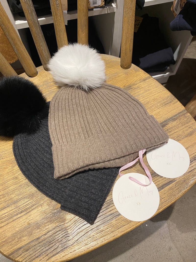 Grace and May Cashmere Pom Pom Beanie