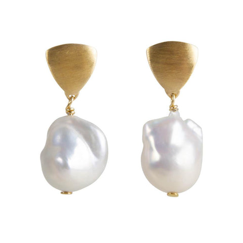 Fairley Baroque Pearl Shield Earrings