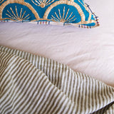 Linen King Flat Sheet Moss Stripe