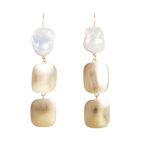 Kirstin Ash Bar Drop Earrings Rose Gold