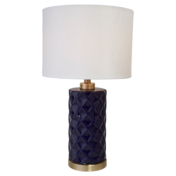 Hampton Blue Ceramic Lamp W/ White Shade