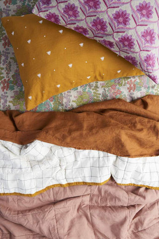 Society Of Wanderers Pillowcase Set, Embroidered Turmeric