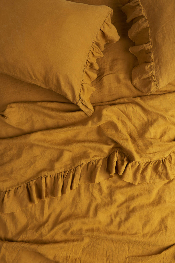 Society Of Wanderers Queen Ruffle Flat Sheet, Turmeric