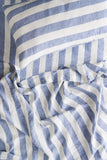 Society Of Wanderers Pillowcase Set w Ruffle, Chambray Stripe