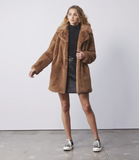 Ena Pelly Minimalist Faux Fur Jacket
