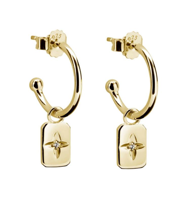 Murkani Rectangle earrings with white topaz 18KT gold plate