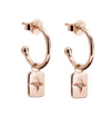 Murkani Rectangle Earrings with White Topaz in Rose Gold Plate