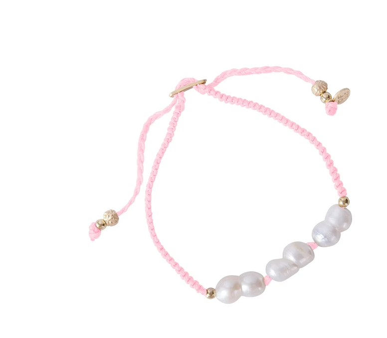 Fairley Rice Pearl Rope Bracelet PInk