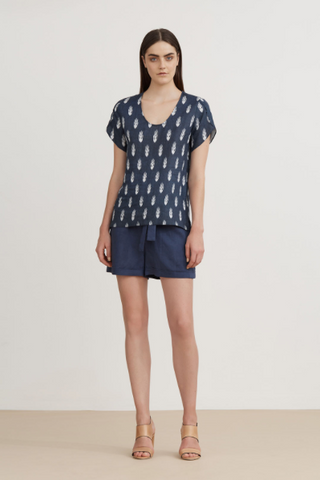 The Dreamer Label Batik Linen Shift Blouse