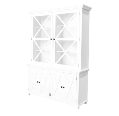 Sorrento White Tall Glass Cabinet