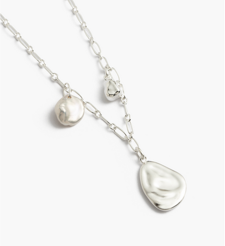 Kirstin Ash Tidal Pearl Necklace-Silver