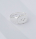 Kirstin Ash Engravable Signet Ring- Silver, Size 6