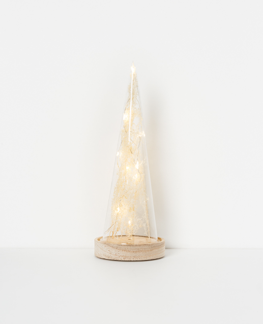 Holiday LED glass cone tree H27cm