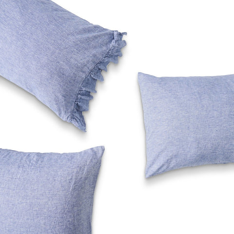 Society Of Wanderers Pillowcase Set w Ruffle, Chambray