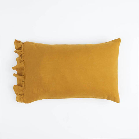 Society Of Wanderers Pillowcase Set w Ruffle, Turmeric
